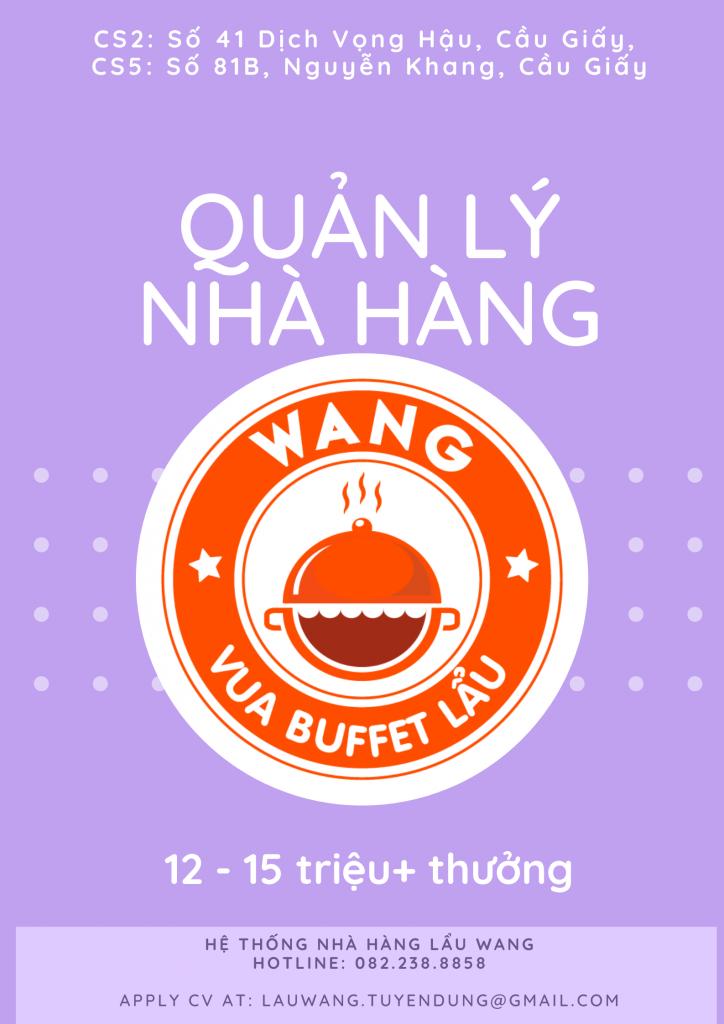Lẩu Wang tuyển dụng Quản lý Nhà hàng