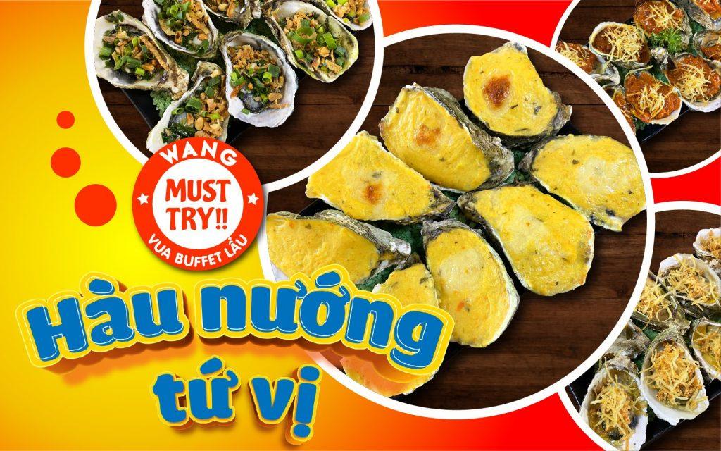 Hàu nướng tứ vị tại Lẩu Wang